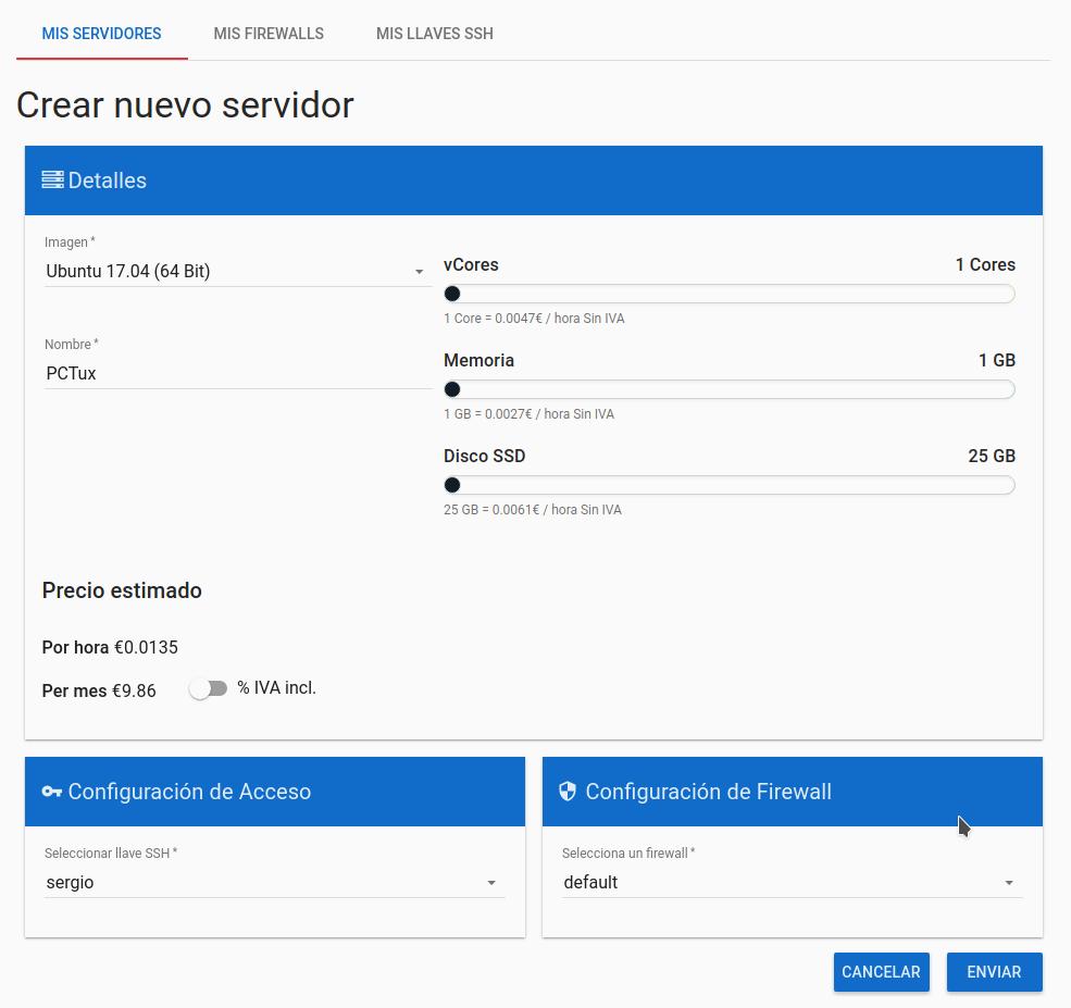 Creación de servidor en clouding.io